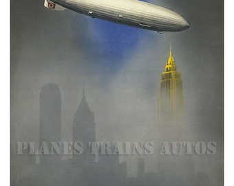 Vintage Zeppelin Airship 1937 Poster advert. 2 Days To North America. Instant Download.