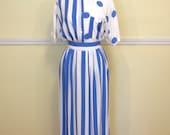 Amazing 80s Three Piece Dress Set / Midi Skirt / High Waisted Shorts Skort / Short Sleeve Blouse / Blue Stripes & Polka Dots / LARGE