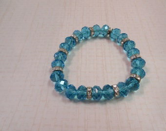 Beautiful Aqua Blue Glass Bracelet with silver spacers
