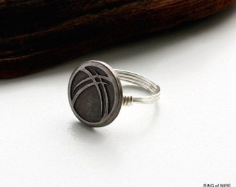 Silver Button Ring, Art Deco Button Ring, Wire Wrapped Ring, Silver Art Deco Ring, Silver Wire Ring