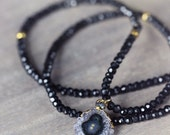 Black Spinel Necklace with Amethyst Stalactite and Raw Diamond Pendant - Black and Gold Boho Luxe Gemstone Necklace