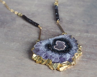 Amethyst Statement Necklace - Unique Statement Necklace with Amethyst Pendant and Black Spinel - Boho Luxe Jewelry