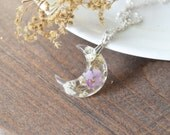 "Real Pressed Flowers Crescent Moon Resin Pendant with Baby's Breath and Pink Lucky Lantanta ""Fairy Moon"""