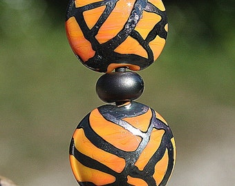 Jungle Camouflage SET of Seven Handmade Lampworked Glass Beads OOAK Lentils Rondelles Donuts Metallic Black Apricot Yellow Lampwork