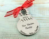Custom Christmas Ornament, Family Christmas ornament, Holiday ornament, Hand stamped, Christmas decor