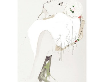 "FASHION ILLUSTRATION, GICLÉE print,drawing, drawing, makeup, cream,green, chic ""VIntage Rose"""