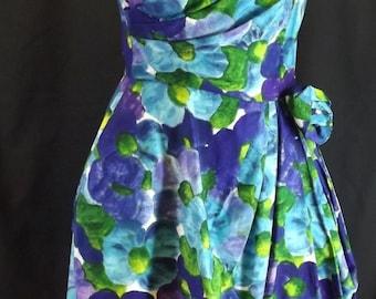 vintage 1960's FLORAL PARTY DRESS blue purple green S