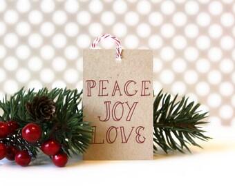 Christmas Gift Tags - 'Peace Joy Love' (Set of 10) - Christmas Tags, Kraft Tags, Christmas Wrapping, Gift Wrap