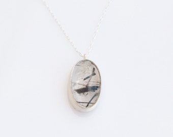 Black Rutile Quartz Necklace , Handmade Jewelry , Gemstone Necklace , Silver necklace , Stone Necklace , Gift for Mom , Rutile Jewelry