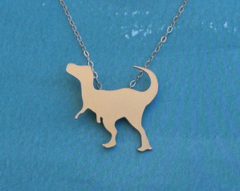 Gold T-Rex Dinosaur Necklace , Dinosaur Jewely , Animal Necklace , Prehistoric Charm , Gift Idea , Dinosaur Charm , Dinosaur Pendant