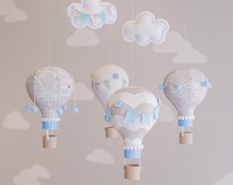 Travel Theme Baby Mobile, Grey and Blue Nursery Decor, Hot Air Balloon Mobile, Personalized Baby Gift, Customizable, Made to Order, i60