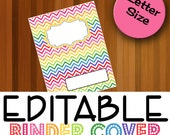 EDITABLE Binder Cover, Household Binder, Rainbow, Homeschool Planner, Home School Binder Spine, and Binder Back Instant Download