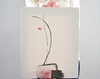 Original Minimalist Abstract Art, Simplistic Wall Art, Contemporary Painting for Her, Anniversary Present or Her, Girlfriend Gift