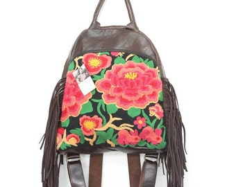 Leather Tassel Backpack Design With Flowers Chenille Fabric Thailand (BG4392-OR)