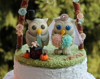 "Owl wedding cake topper, custom love birds with arc and base, BIGGER more than 4"" tall, hydrangeas bouquet, fall wedding"