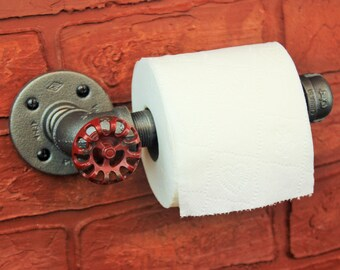 Industrial pipe toilet paper holder steampunk toilet for Decoration porte toilette