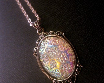 Silver Frame Iridescent Multi Colorful Cabochon Pendant Necklace - Glow - Color Shift
