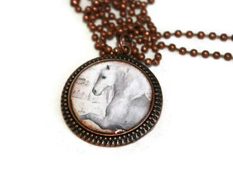 Horse Jewelry, Equine Jewelry - Regal White Horse Antique Copper Round Resin Pendant, Horse Lover Gift