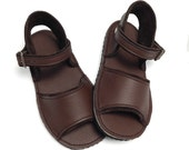 Handmade chocolate brown leather children's sandals.  Kids Summer sandals.  Boys and girls summer shoes.