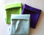 Small Pouch for Snacks and other Small Items, Solid Color Options: Green, Ice Blue, Purple, No Zipper