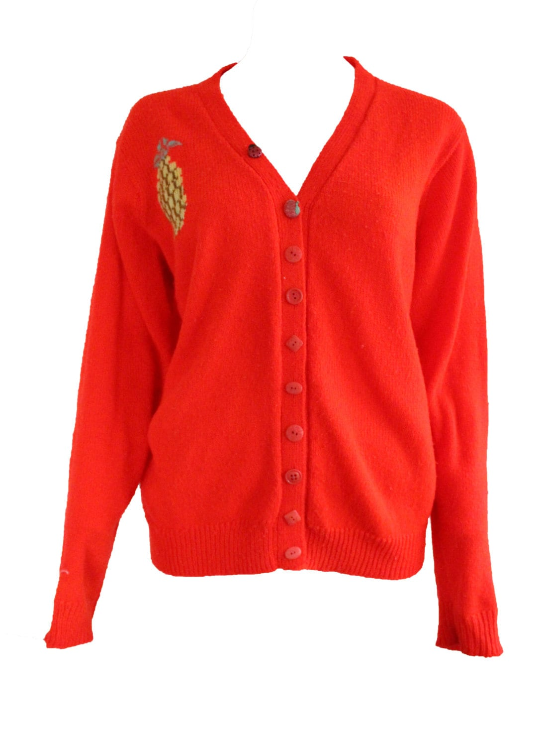 Vintage Knitted Pineapple Cardigan Red Wool Sweater