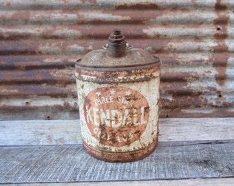Vintage 1960s Era KENDALL Motor Oil Large Can Red Rusted Rustic Distressted  Metal Collectible Gas Station Gear Oil Mechanics Garage