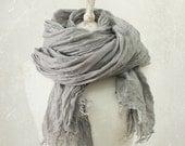 FROST GREY LINEN scarf / soft fringe