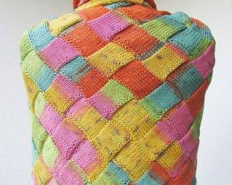 large knit triangular entrelac rainbow shawl , multicolor CHOOSE YOUR COLOR made to order