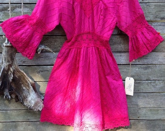 1970's Gorgeous Fuschia Pink Flocked V Neckline Mini Dress with Beautiful Crochet Lace Trim and Waistband and Short Bell Sleeves