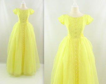 On Sale Lemon Drop Prom Dress - Vintage 1950s Long Tulle Party Dress in Yellow w/ Bustle & Bow - xSmall