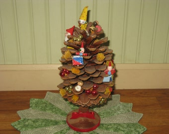 "Vintage Pinecone Christmas TREE Decorated with Ornaments  Holiday Decoration 1960's is 12"" Tall Handcrafted"