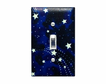 GLOW Star Light Switch Plate Cover / Boys Girls Room Stars Solar System Baby Nursery / Glow in the Dark
