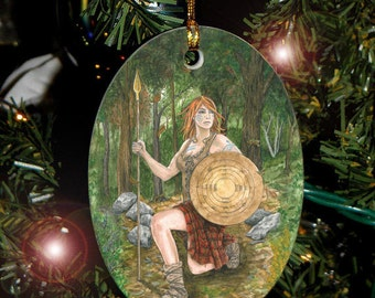 Ogham Shield Card,  Celtic Tree Ogham Voice of the Trees Ornament
