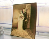 Vintage Photograph Bride and Groom Portrait 1940s 8 x 10