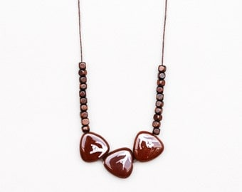 Chocolate Necklace, Triangle Necklace, Ceramic Necklace, Brown Necklace, Clay Necklace