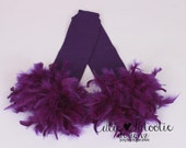 READY TO SHIP: Leg Warmers - Purple Feather - Grape Glider - Bird Costume Accessory - One Size - Cutie Patootie Designz