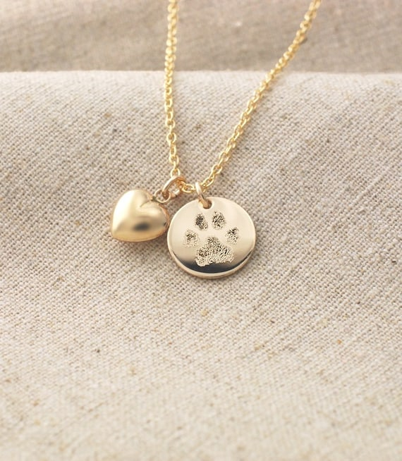 your pet 39 s actual paw print pendant and puffed heart charm