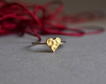 Gold Heart Ring Sterling Silver Wedding Bridesmaid Stacking Ring Dainty