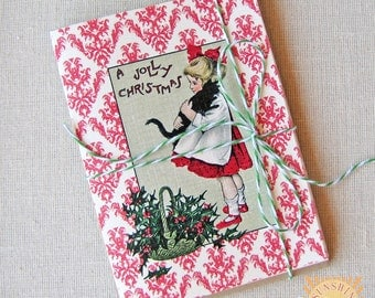 Christmas Note Cards Vintage Girl with Cat Jolly Christmas Set of 20