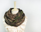 Camo Infinity Scarf RealTree Camouflage Scarf Real Tree Scarf Circle Jersey Green Chunky Warm