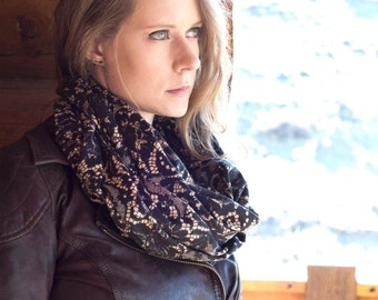 Lace Infinity Scarf, Gift for Her, Black Lace Scarf Pattern, Printed Womens Unique Winter Gift Girlfriend Wife, Circle Scarves, Accessory