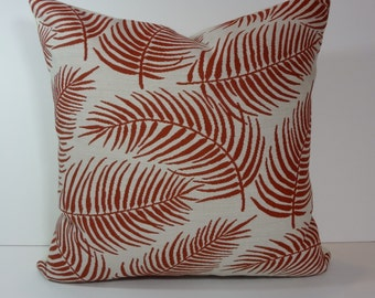 Fern Decorative Pillow Cover, Rust, Burnt Orange, Leaves Cushion Cover, 18 x 18