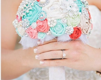 Brooch bouquet. coral, turquoise, mint,  heirloom rhinestone brooch wedding bouquet.
