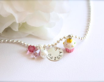 Sterling Silver Cute Pink Birthday Cupcake Necklace Personalized Hand Stamped Girls Name Necklace -- FREE Gift Packaging