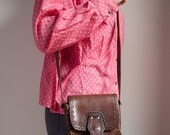 Vintage Chestnut Brown Tooled Leather Shoulder Bag Crossbody Hippie Festival Bag