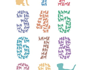 Customisable Dog Numbers Poster – Number Print, Nursery Art, Baby, Children – A3 Print