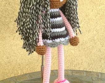 Valentine Crochet African Doll, Black Plush Salt Pepper Pink Gray White Locks Dreads Natural Hair Stuffed Toy Baby Girl Gift MADE TO ORDER