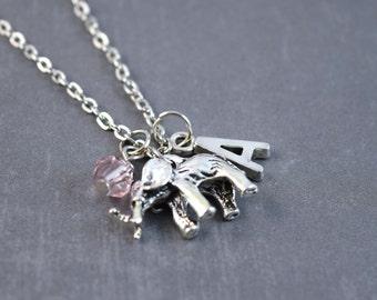 SALE - Silver Elephant Necklace - Personalized Necklace - Safari Necklace - Elephant Jewelry - Zoo Necklace - Elephant Pendant