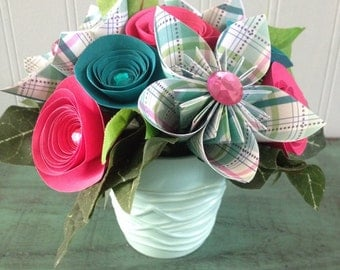 Pastel Paper Flower Arrangement in Pink and Teal
