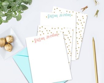 Confetti Flat Note Cards Personalized Note Card Set Thank You Cards Personalized Stationary Gift Monogram Stationery Custom Note Cards